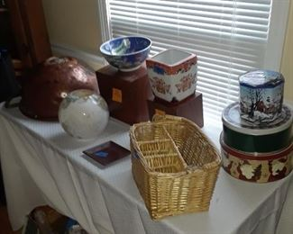 Baskets, tins, lamp globe, wood dfisplay stands in two sizes, cache pot, and more