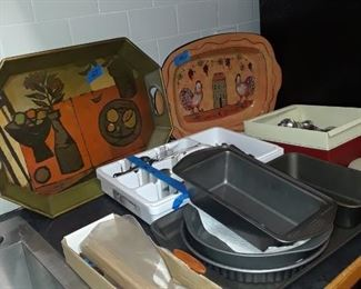 Sercing trays, casseroles, baking items, and utensils
