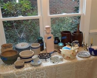 Crockery, wood mortar and pestle, tureen, trivets, and more kitchen