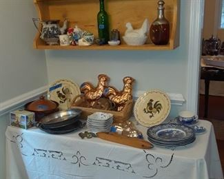 Copper rooster molds, transferware plates, shuttle, pitchers, and more