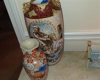 Limoges hand-painted vase; Japanese vase
