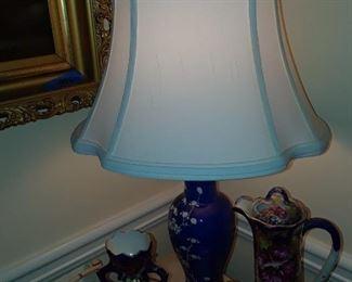 Asian lamp, cobalt glaze, Nippon pitcher, Nippon vase