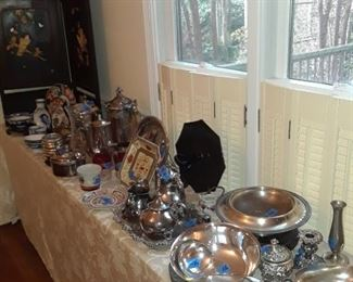 Lots if silverplate and pewter