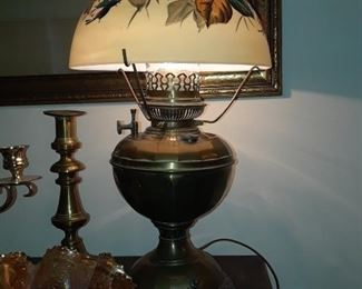 Bradley and Hubbard lamp, hand-painted shade, brass base