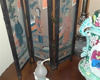 3 panel folding screen, hand-painted in glass panels, Chinese