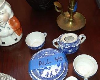 Child's blue willow tea set, partial