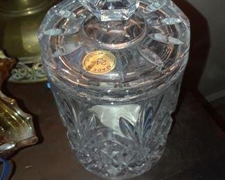 Czech pressed glass candy jar
