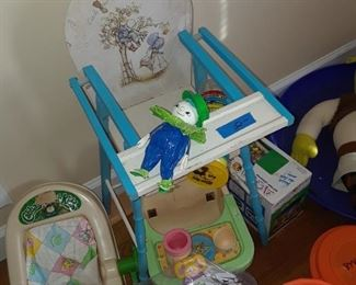 High chair, baby chair, and baby dolls