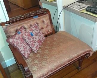 Fainting couch, nicely upholstered in pale apricot