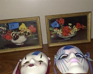 Ceramic masks, 1930s prints
