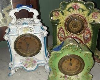 Porcelain mantle clocks