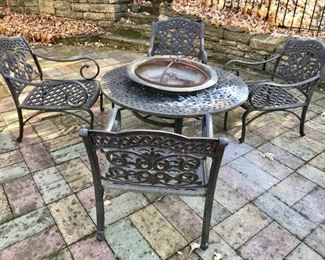 Table, chairs and Built in Fire Pit ...