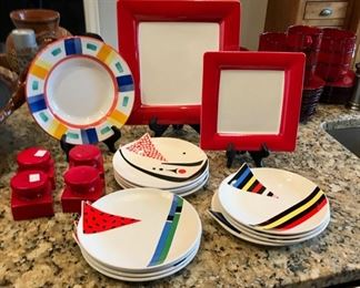 Red themed serving pieces