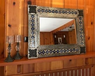 Mexican Tiled Mirror and Candle Sticks