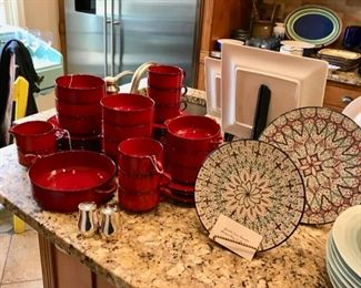 Red kitchenware, Mexican Plates, and more...
