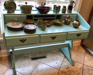 Charming Desk and Pottery Collection...