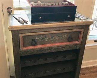 Hand Painted wine cabinet and Set of R & B Sterling -Chambord
