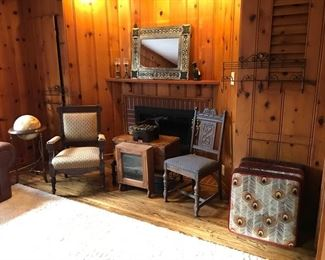 Globe/Stand, Peacock Floor Pillows, Vintage Wall Chest, Iron Brackets,  Cuckoo Clock, and more...