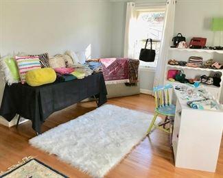 Fun Shag Rug, Pillows, Linens, Purses, White Desk, Book Case,  Painted Chair, Headboard,  and more...