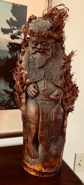 Hand Carved  Man  with Fish
