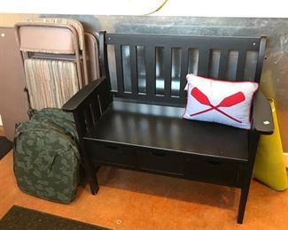Bench With Drawers, Cushions, and Folding Card Table with Chairs...