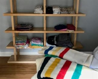 Shelving Unit, Linens, Trapper Point and Hudson Bay Wool Blankets and more...
