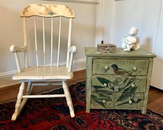 Vintage Rocker and Hand Painted Chest