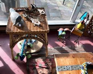 Wicker Side Table,  Mexican Metal Sculptures, Vintage Skates, Decoy, Rug, Chest, and more...