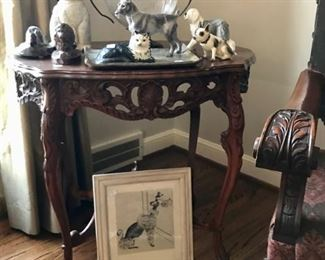 Cat/Dog Figures, and 1950's Framed Poodle and Vintage Table