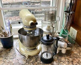 KitchenAid Mixer, French Coffee Press, Cuisinart, and Vintage Waring Pro Mixer