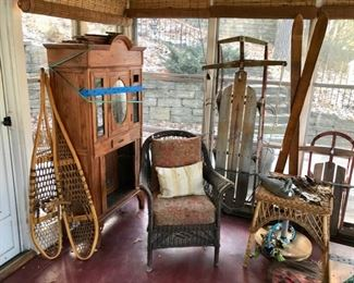 Vintage Snow Shoes, Sleds, Ice Skates, Skies, Wicker, and more...