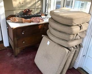 Vintage Marble Topped Chest, Cushions, and more...