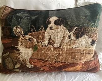 Bunny and Puppy Needlepoint Pillow