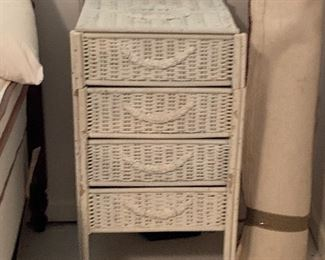 Wicker Side Table with Storage