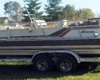 Hurricane 19 Ft I/O 4.3L General Motors V6 Deck Boat, Includes 1984 Oklahoma Trailer, GVW 6,000 Lbs