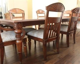 """Haverty's Cherrywood table and 6 chairs, 96"""" x 43"""" with one leaf inserted (shown). Includes additional 16"""" leaf."""
