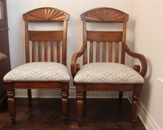 Six Haverty's chairs  sold with table  - four on left and two host chairs on right