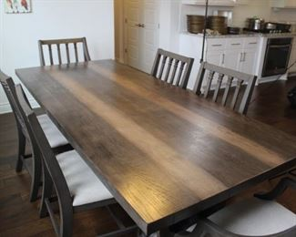 """Magnolia Home dining table, 96"""" x 42"""", manufactured in 2016 and looks great! 6 chairs sold with it - 4 dining chairs and 2 host chairs"""