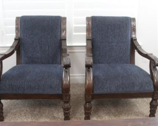 Set of 2 carved wood chairs with blue upholstery
