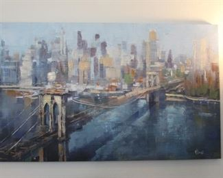 """Cityscape painting, 60"""" x 36"""""""