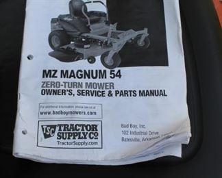 "MZ Magnum 54"" Zero Turn Mower by Bad Boy Mowers (2017) - runs great! 37 hours of use"