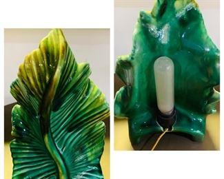 """Vintage Leaf Lamp, Height 12 1/2"""""""