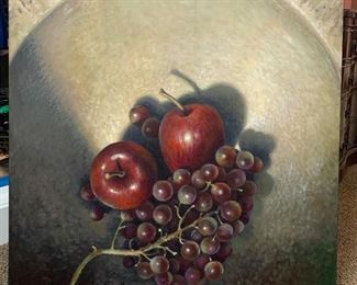 Large Canvas Apples & Grapes  By:  Jan Miller of Saugatuck, MI