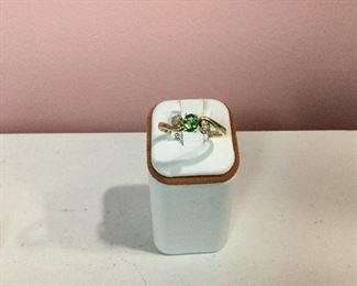 Yellow gold, tsavorite garnet and diamond ring