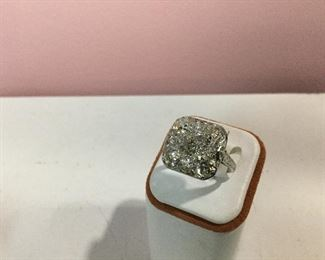 White gold and diamond ring