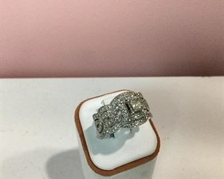 White gold and diamond bridal set