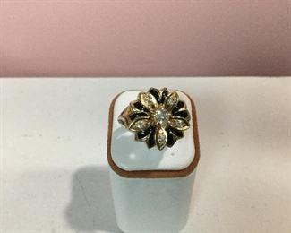 Yellow gold, enamel and diamond ring