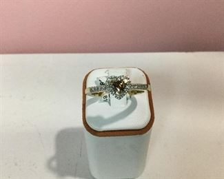 Yellow gold, white and chocolate diamond ring