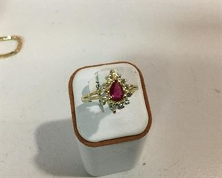Yellow gold, ruby and diamond ring