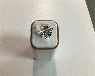 White gold, ruby and diamond ring